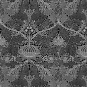 William Morris ~ Growing Damask ~ Black   by peacoquettedesigns