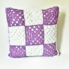 "Crochet Pillow Cover, Purple Pillow, Granny Square, Reversible Pillow, Pillow Case, Handmade, 18"" Pillow, Purple And White, Pillow Sham"