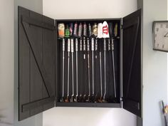 My husband was looking for a display cabinet for his golf putters & head covers, but those available in the market are mostly open display racks.