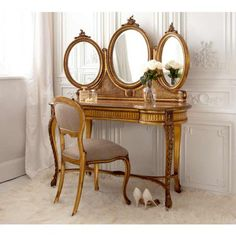 Versailles Gold French Dressing Table (Image by The French Bedroom Company Decor, Shabby Chic Dresser, White Bedroom Furniture, Dressing Table Mirror, Vanity Table, French Furniture, Home Decor, House Interior, French Bedroom