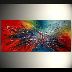 Spring Beauty ABSTRACT PAINTING Red Blue ORIGINAL by largeartwork, $500.00