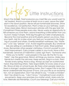 DESIGN BY CALEY: Life's Little Instructions Printable