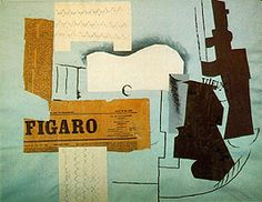 Picasso, Gitaar, glas, krant en fles, 1913 synthetisch kubisme