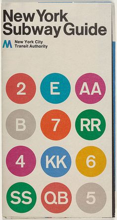 """NYC Subway diagram Cover"", 'M. New York City Transit Authority', - Graphic Design by Massimo Vignelli (b. Italian) and 'Vignelli Associates'. Nyc Subway Map, New York Subway, Toronto Subway, Massimo Vignelli, Poster Design, Map Design, Print Design, Die 100, Diagram Design"