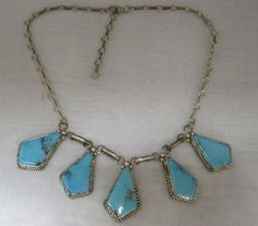 Vintage Turquoise and Sterling Necklace marked by MyRedFlamingo, $124.99