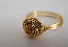 Gold Rosebud Ring, Gold plated Wire Ring, Rosebud Ring, Bridesmaids Gift, Silver/Copper available, All sizes, Gift for Her, Gift under 20 on Etsy, 90,14kr