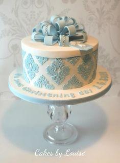 Hatbox style christening cake