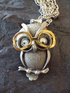 Owl Pendant with Moving Glasses Deadstock NOS Fab Owl Necklace