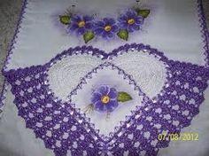 aplicação de flores de croche em panos de prato - Pesquisa Google