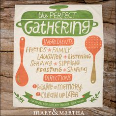 "Suggested text: We make hosting a Gathering as easy as our ""Perfect Gathering"" tea towel says. Contact me to learn more! [Insert PWS to host page]"