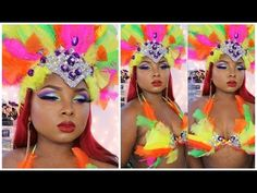Carnival Make up tutorial COLLAB with BeautyByLee!!! - Full Face tutorial - YouTube