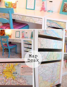 Decoupaged Map Ikea Desk  http://www.ikeahackers.net/2012/01/decoupaged-map-ikea-desk.html#