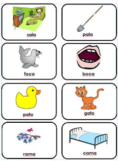 Free printable, 20 one and two syllable rhyming pair cards. Chiquitos bilingües y especiales #learn #spanish