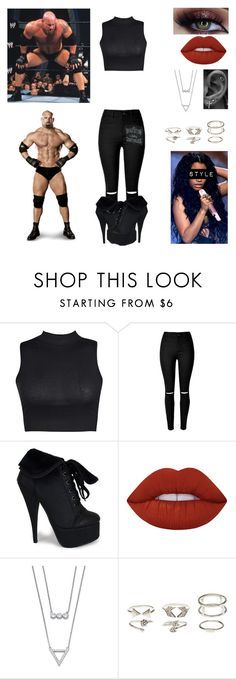 """""""Bill Goldberg Gender Bend"""" by queenreigns-916 ❤ liked on Polyvore featuring Boohoo, Lime Crime, Palm Beach Jewelry and Charlotte Russe"""