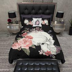 Love Hate Black Skull Duvet Bedding Sets *Q* Cream Bedding, Duvet Bedding Sets, Black Bedding, Linen Bedding, Bed Linens, King Comforter, Comforters, Zipper Bedding, Floral Bedding