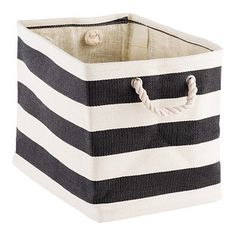 Rugby Stripe Bins | The Container Store