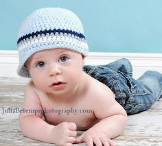 3 to 6 Month Baby Boy Hat Visor Cap - baby blue, navy, gray, white, natural cotton, photo prop. $24.00, via Etsy.