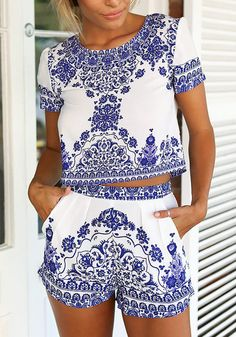 Cute pose of model in porcelain print shorts co-ord set