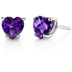 Oravo 14k White Gold Heart-cut Gemstone Stud Earrings (195 NZD) ❤ liked on Polyvore featuring jewelry, earrings, accessories, purple, stud earrings, long earrings, 14k stud earrings, heart shaped earrings and gemstone earrings