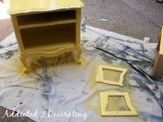 refinishing furniture using spray paint.