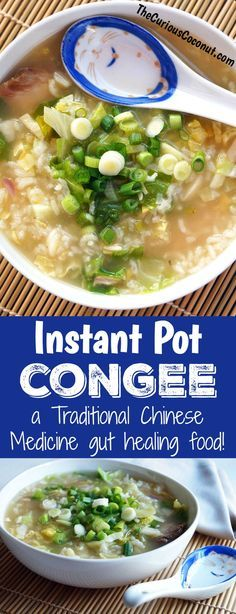 How to make Congee in the Instant Pot Pressure Cooker - a traditional gut healing food in Chinese Medicine // TheCuriousCoconut. Real Food Recipes, Soup Recipes, Cooking Recipes, Healthy Recipes, Dinner Recipes, Cheap Recipes, Milk Recipes, Kitchen Recipes, Potato Recipes