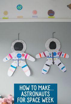Kid's Crafts: Making Astronauts For Space Week – Let's Do Something Crafty - Dunkelblonde Haare Space Theme Preschool, Space Activities For Kids, Preschool Crafts, Preschool Activities, Outer Space Crafts For Kids, Space Crafts Kids, Science Crafts, Indoor Activities, Summer Activities