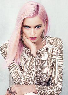 Straight, long, pink hair