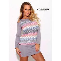 Masca Fashion nyitott vállú, hosszú ujjú szürke miniruha, színes csíkos áttört mintás testrésszel Crochet Top, Tops, Women, Fashion, Moda, Fashion Styles, Fashion Illustrations, Woman