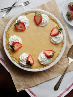 Peanut Butter Chiffon Pie with Macerated Strawberries and Pretzel Crust