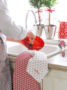 This a fabulous festive tea towel from Greengate of Denmark covered in red christmas trees, I love it Jackie xxx Christmas Mantels, Christmas Home, Christmas Colors, Christmas Trees, Red Kitchen, Country Kitchen, Country Life, White Cottage, Cottage Style