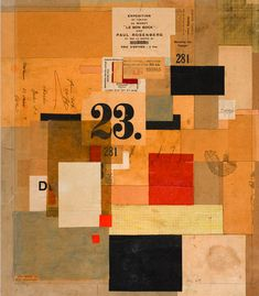 """Mz 601,"" a 1923 collage from the exhibition ""Kurt Schwitters: Color and Collage"" at the Princeton University Art"