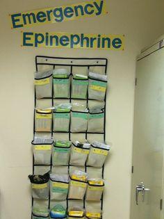 EpiPen storage - over-the-door shoe organizer