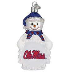 University of Mississippi Ole Miss Snowman Christmas Ornament