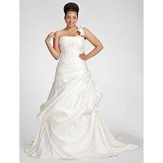 Lanting+A-line+Plus+Sizes+Wedding+Dress+-+Ivory+Chapel+Train+One+Shoulder+Satin+–+USD+$+169.99