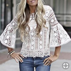 "We love the feminine classic feel of this lace top with it's dainty neckline detail and bell sleeve. The fit is flattering and super chic. We love it ""Coco Chanel"" style with a pencil. White Fashion, Love Fashion, Autumn Fashion, Womens Fashion, Casual Outfits, Cute Outfits, Fashion Outfits, Shirt Bluse, Lace Outfit"