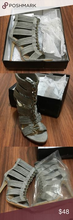 Public Desire Gray Lace Up High Heels 6 New with box public Desire Shoes Heels
