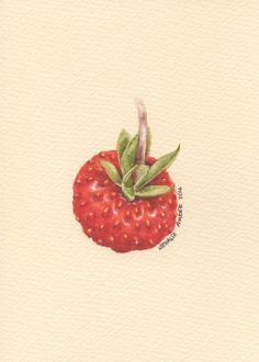Wild Strawberry - ORIGINAL Painting (Still Life Wall Art) 5x7