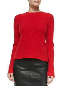 THE ROW Wool/Cashmere Cable-Knit Sweater, Scarlet