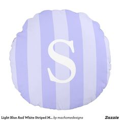 Light Blue And White Striped Monogrammed Round Pillow