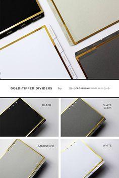 Im so excited to introduce my new gold-tipped dividers with laminated tabs. Available in four neutral shades with gold foiling detail onto a textured card stock, they are the perfect compliment to any of my minimal planner pages. With pre-labelled tabs vague enough to be tailored