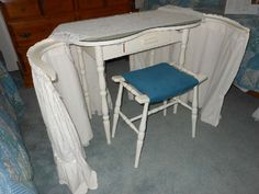 """I had a """"dressing table"""" just like this in white, but the skirts were pale pink and the bench was mahogany and I still have that! As I got older, it didn't have enough drawers for all the make-up and hair stuff but when I was little, it was perfect! Dressing Table Revamp, Vintage Dressing Tables, Dressing Table Vanity, Art Deco Furniture, Find Furniture, Furniture Design, Repurposed Furniture, Refurbished Furniture, Painted Furniture"""