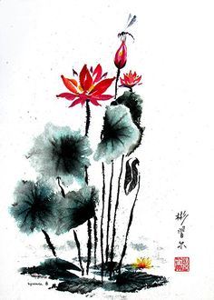 """""""China Garden"""" Spontaneous (xie yi) style Chinese brush painting on rice paper by bgsearle."""
