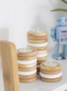DIY Wooden Tea Light Candle Holder from Curtain Rings - Gorilla Wood Glue - Easy crafts Curtain Rings Crafts, Curtains With Rings, Wooden Rings Craft, Wooden Diy, Tealight Candle Holders, Candle Jars, Candleholders, Wooden Tea Light Holder, Expensive Candles