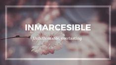 Inmarcesible: unfathomable, everlasting