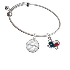 Texas Outline with Flag - Bible Verse Matthew 5:8 Glass Dome Bangle Bracelet * Check out this great product. (This is an affiliate link and I receive a commission for the sales)