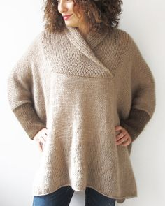 WINTER SALE 20% Mohair Hand Knitted Poncho Plus Size Over by afra