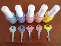 Don't know what to do with that inexpensive nail polish which looks too streaky on your nails? Paint your keys with it! My office has two different locks with two almost identical keys. I often try...