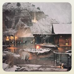 MAGICAL...the only way I can describe evening snow and roaring fires @ojospa in #NewMexicoTrue Ojo Caliente Mineral Springs New Mexico