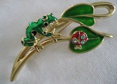 Vtg Enamel Frog with Trembler Ladybug on Leaf Brooch Figural Pin   eBay