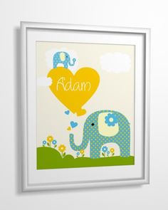 Personalized Baby Boy Name Nursery Art for boys Kids by MiraDoson, $5.00